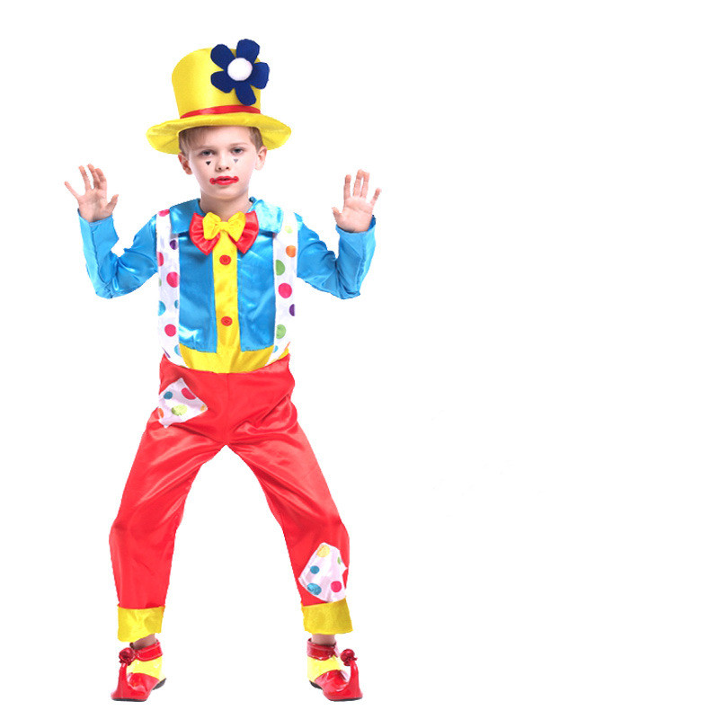 Clown Performance Costume Dots Jumpsuit With Hat