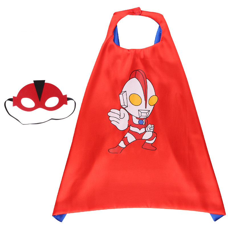 Ultraman Halloween Costumes Cosplay Cloak Double Sided Satin Capes with Felt Masks for Kids