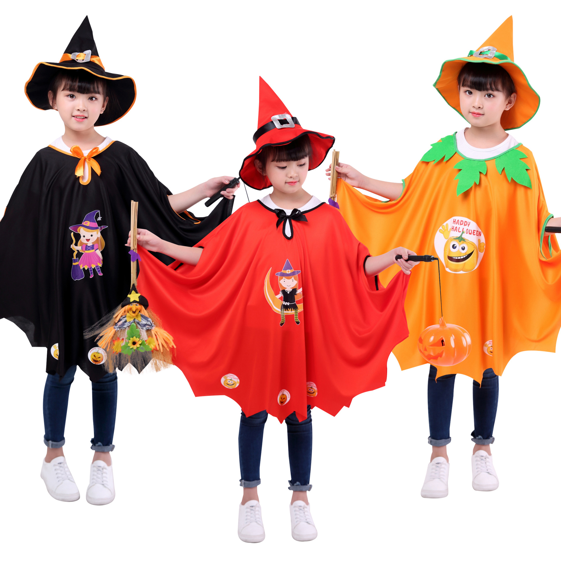 Pumpkin Cloak Cape Print Witch Halloween Costume Cosplay Suit With Hat