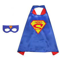 Superheros Halloween Costumes Cosplay Cloak Double Sided Satin Capes with Felt Masks for Kids