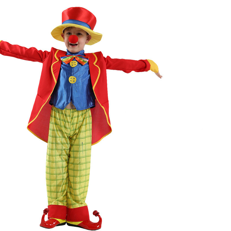 Clown Performance Costume Suit Set With Hat