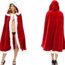 Girl Christmas Red Velvet Costume Cosplay Hooded Cloak Cape