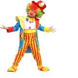Clown Performance Costume Rainbow Stripes Jumpsuit With Coat Hat Bow Tie