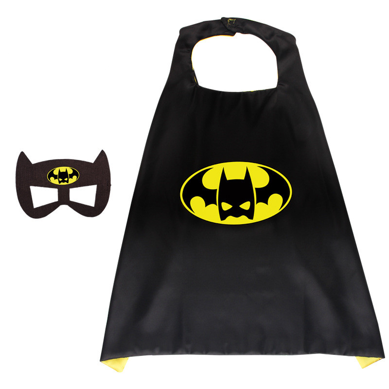 Batman Halloween Costumes Cosplay Cloak Double Sided Satin Capes with Felt Masks for Kids