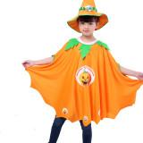 Pumpkin Cloak Cape Print Pumpkin Halloween Costume Cosplay Suit With Hat