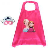 Frozen Princess Halloween Costumes Cosplay Cloak Double Sided Satin Capes with Felt Masks for Kids
