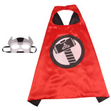 Raytheon Cartoon Halloween Costumes Cosplay Cloak Double Sided Satin Capes with Felt Masks for Kids