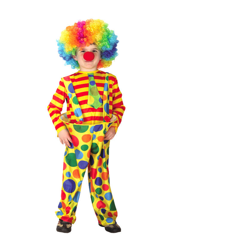 Clown Performance Costume Two-piece Yellow Stripes Top and Overalls Pant