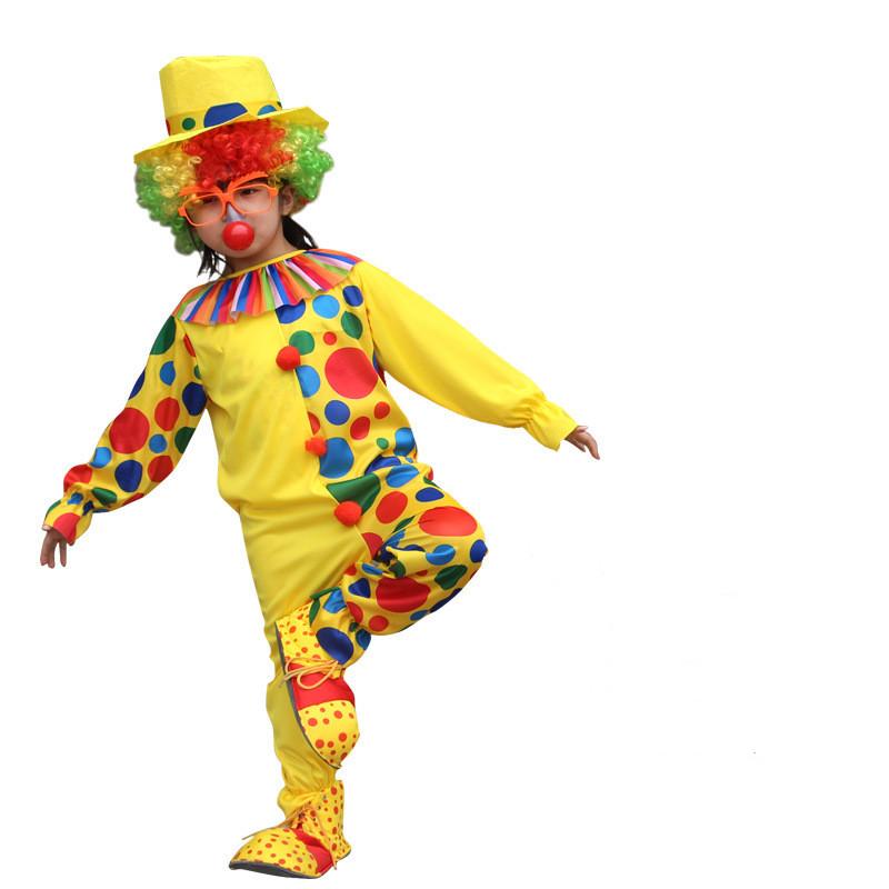 Clown Performance Dots Costume Jumpsuit With Hat