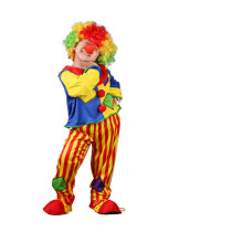 Clown Performance Costume Two-Piece Macthing Color Top and Stripes Pant