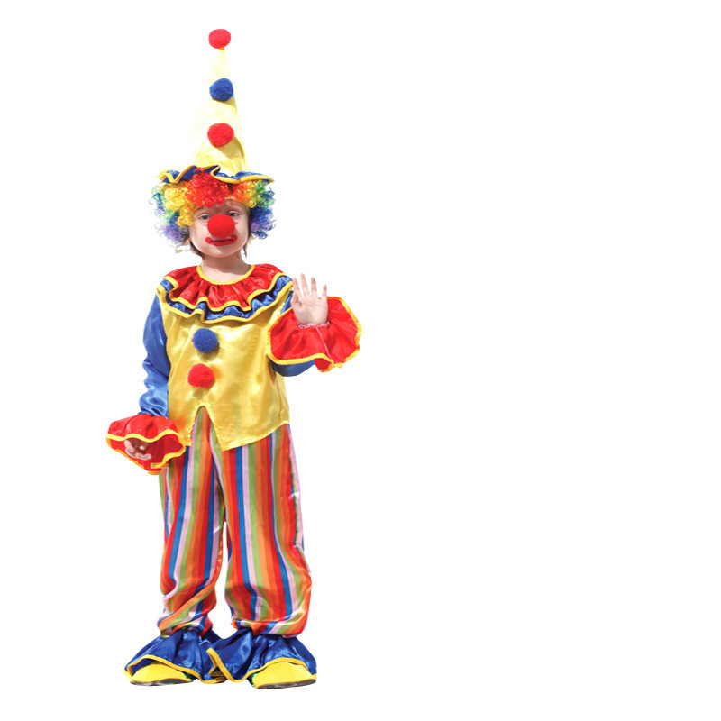 Clown Performance Costume Two-piece Ruffles Pompom Top and Stripes Pant With Hat