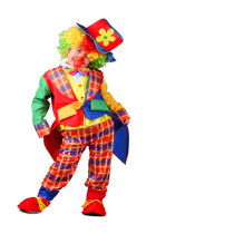 Clown Performance Multicolor Costume Suit Set With Hat