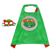 Teenage Mutant Ninja Turtles Costumes Cosplay Cloak Double Sided Satin Capes with Felt Masks for Kids