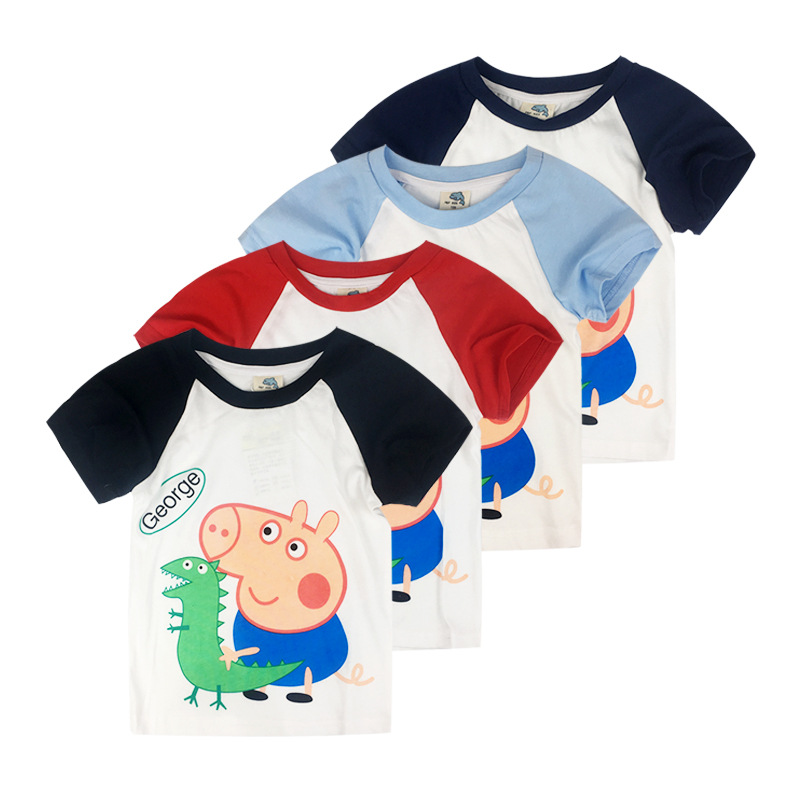Boys Print Peppa Pig George Dinosaur Cotton T-shirt