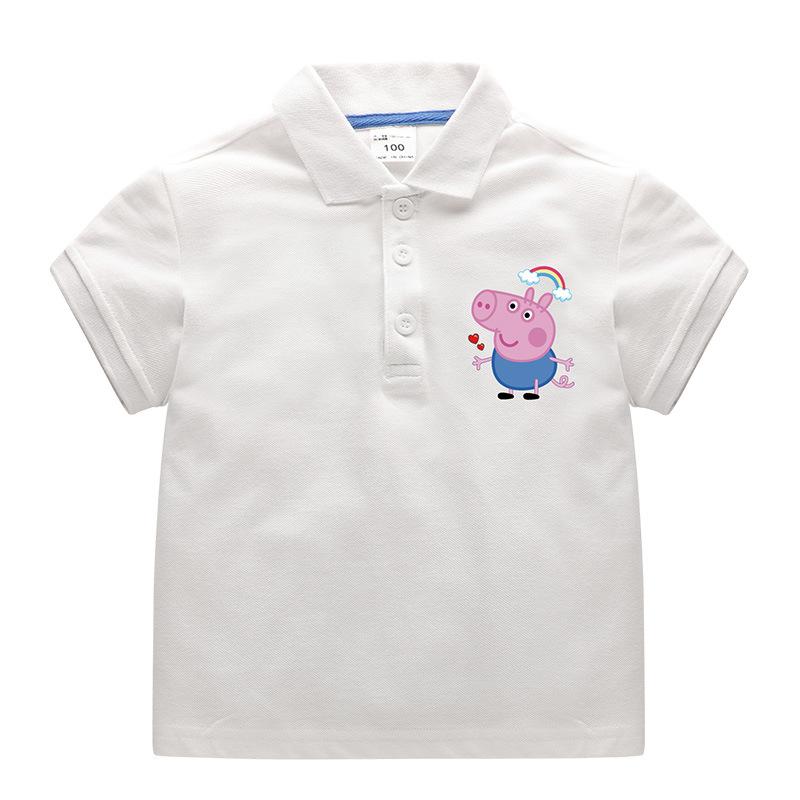 Boys Print Peppa Pig Cotton Polo T-shirt