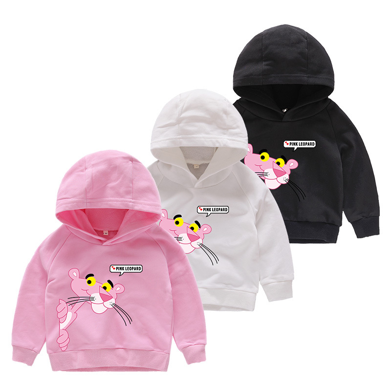 Girl Print Pink Panther Cotton Hooded Sweatshirts