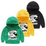 Boy Print Slogan Mickey Cotton Hooded Sweatshirts