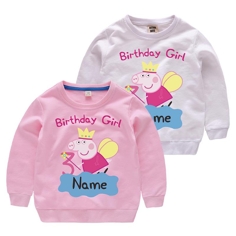 Girl Print Birthday Angle Peppa Pig Cotton Sweatshirts