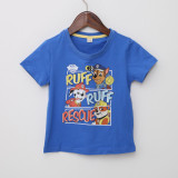 Boys Print Cartoon PAW Patrol Slogan Cotton T-shirt
