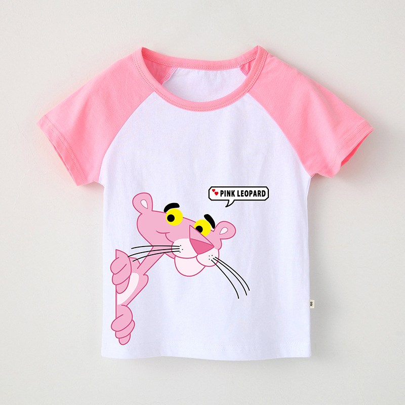 Girl Print Pink Panther Cotton T-shirt