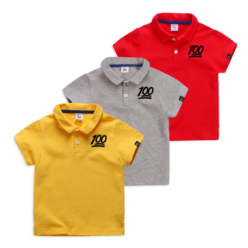 Boys Print 100 Score Cotton Polo T-shirt