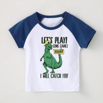 Boy Print Dinosaur Slogan Cotton T-shirt