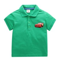 Boys Print Racing Car Cotton Polo T-shirt