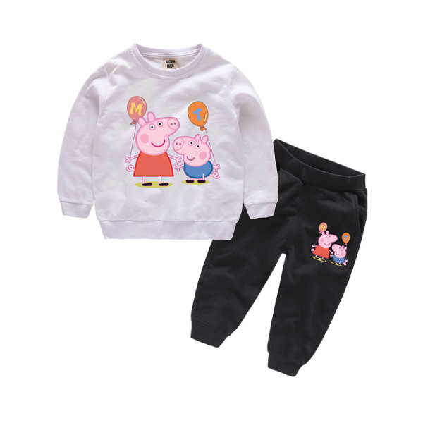 Toddlers Print Peppa Pig Two Pieces Cotton Sweatshirts and Black Jogger Pant