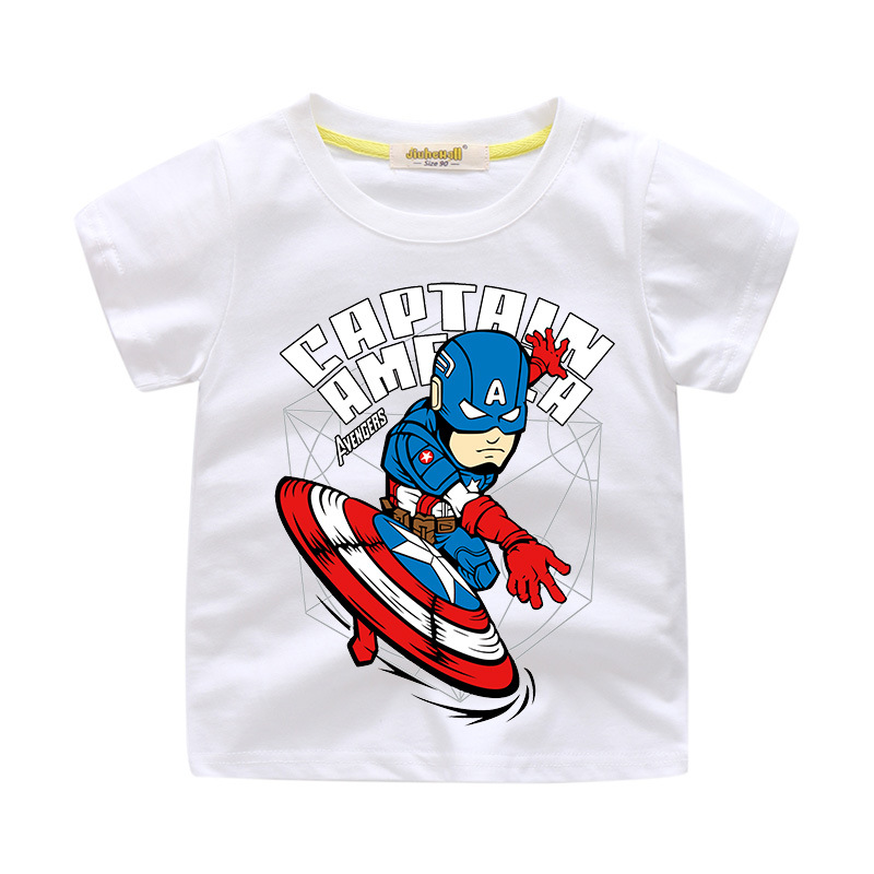 Boys Print Slogan Captain America Cotton T-shirt