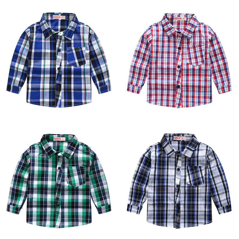 Boys Pure Cotton Plaid Shirt Long Sleeves England Style