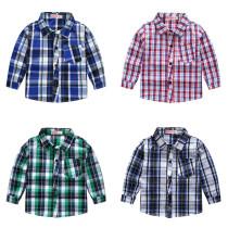 Boys Pure Cotton Plaid Shirt Long Sleeves England Style
