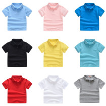 Toddlers Pure Color Cotton Short Sleeves Polo T-shirt For Kids