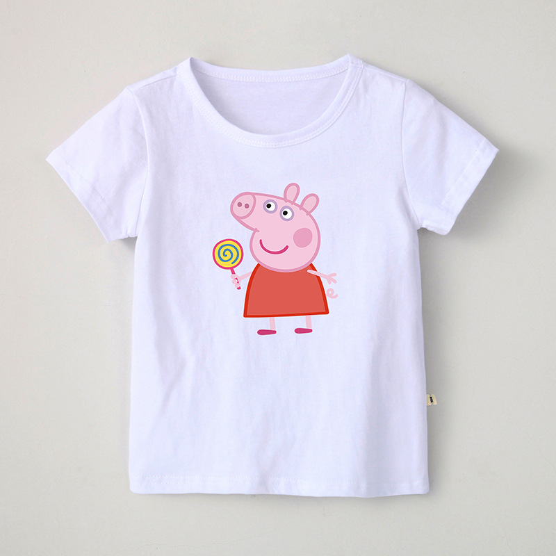 Girl Print Cute Peppa Pig Lollypop Cotton T-shirt