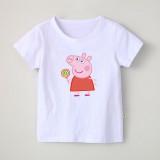Girl Print Cute Peppa Pig Lollypop Cotton T-shirt