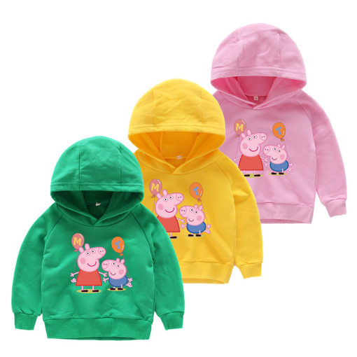Toddlers Print Peppa Pig Cotton Hooded Sweatshirts For Kids