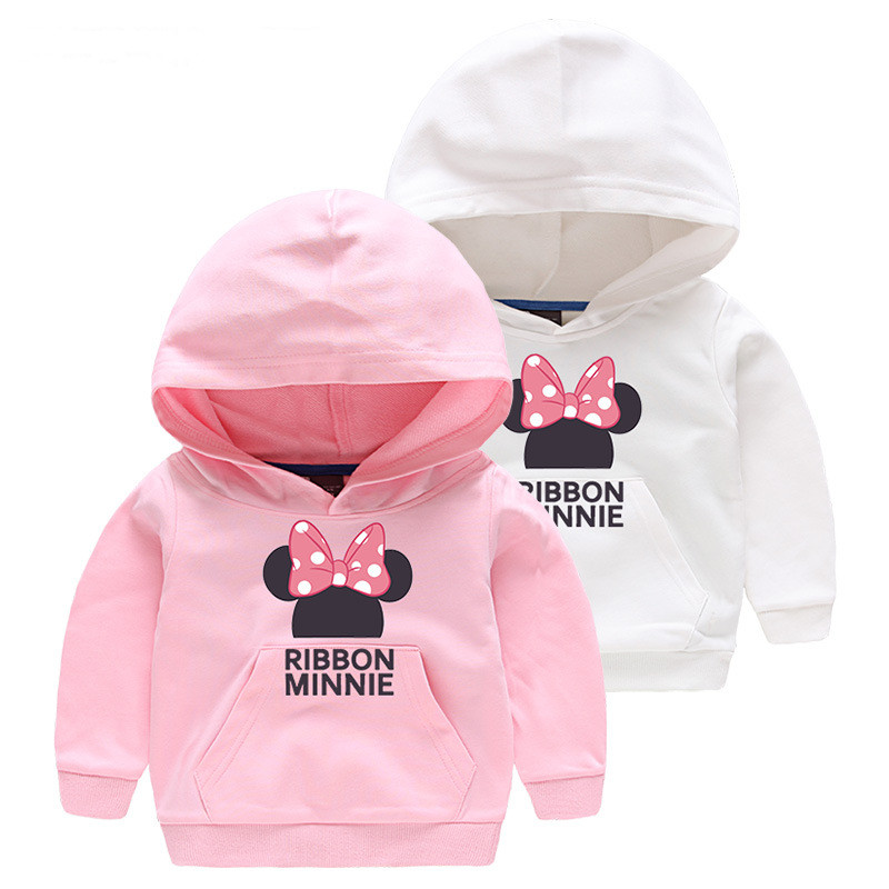 Girl Print Bowknot Minnie Cotton Hooded Sweatshirts With Pocket