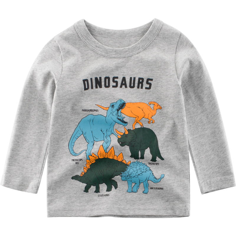 Toddler Boy Print Dinosaurs Long Sleeves Tee