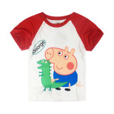 Boys Print Peppa Pig George Dinosaur Cotton T-shirt