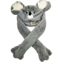 Grey Koala Funny Animal Movable Ears Jumping Soft Plush Hat