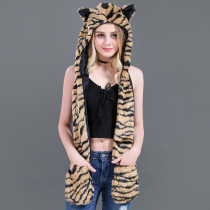 Tiger Faux Fur Winer Warm Hoods Hat Scarf Gloves with Paws Ears 3-in-1