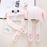Rabbit Funny Animal Movable Ears Jumping Soft Plush Hat