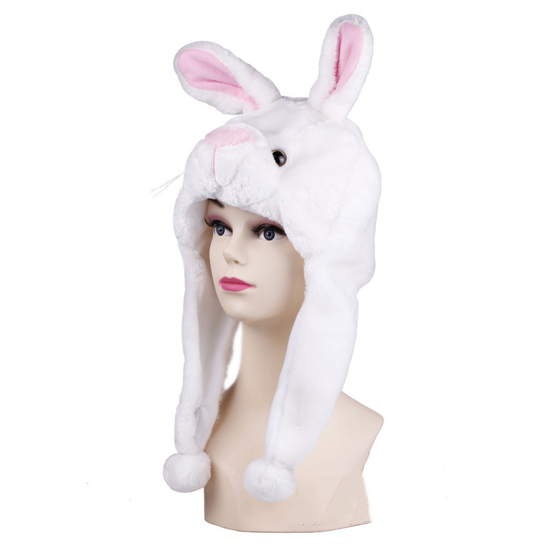 White Rabbit Warm Crozy Soft Plush Hat Winer Ear Flap Beanie For Kids
