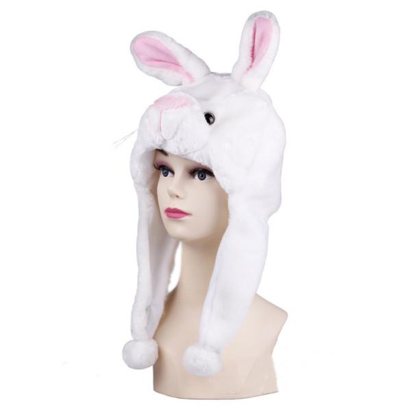 White Rabbit Warm Crozy Soft Plush Hat Winer Ear Flap Beanie For Kids
