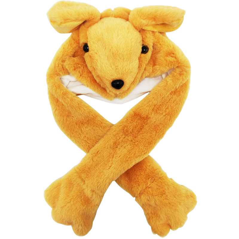 Light Brown Kangaroo Funny Animal Movable Ears Jumping Soft Plush Hat