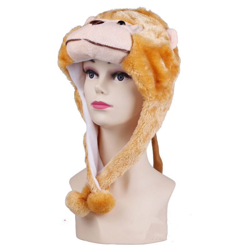 Light Brown Monkey Warm Crozy Soft Plush Hat Winer Ear Flap Beanie For Kids