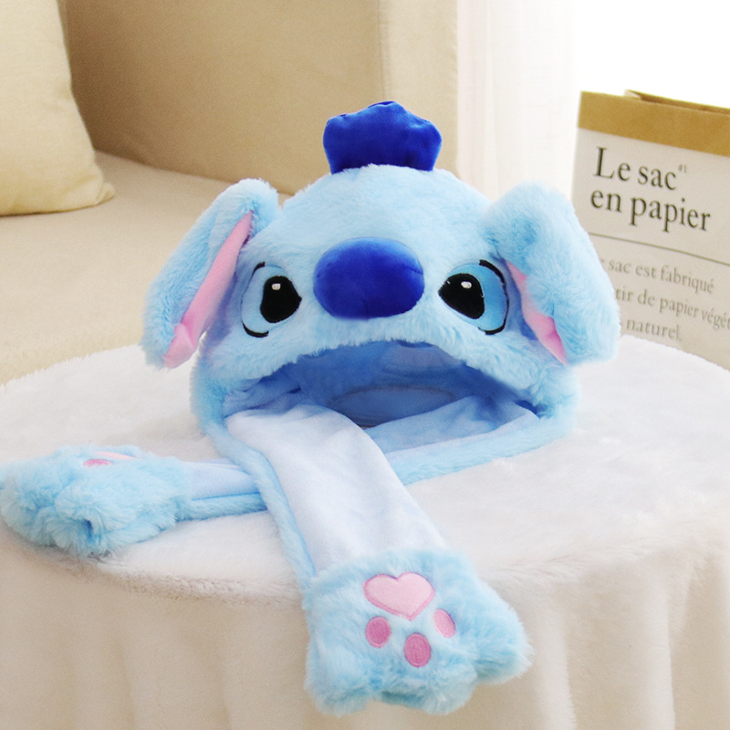 Blue Stitch Animal Movable Ears Jumping Soft Plush Hat