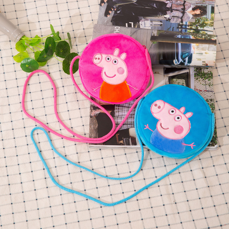 Peppa Pig Plush Circle Crossbody Shoulder Bags for Toddlers Kids