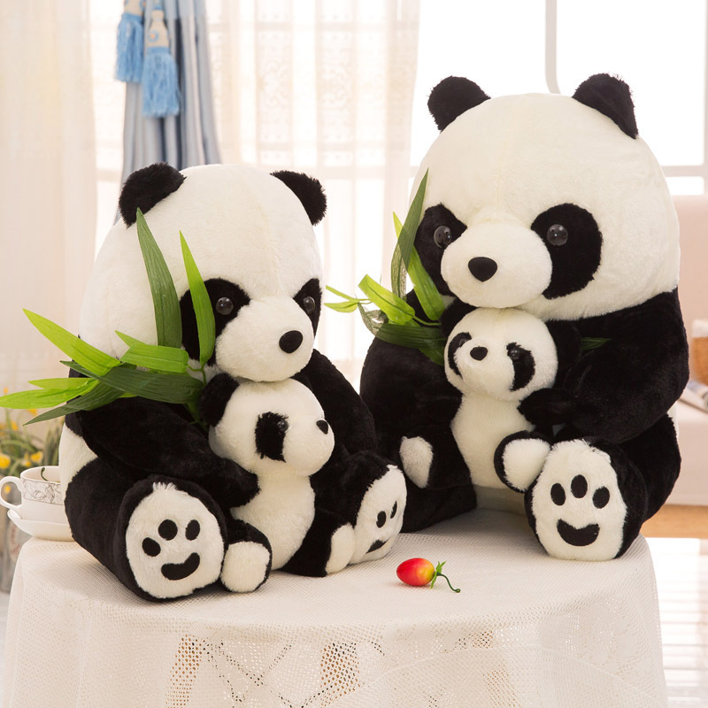 Black Panda Parent-child Stuffed Plush Animal Doll for Kids Gift
