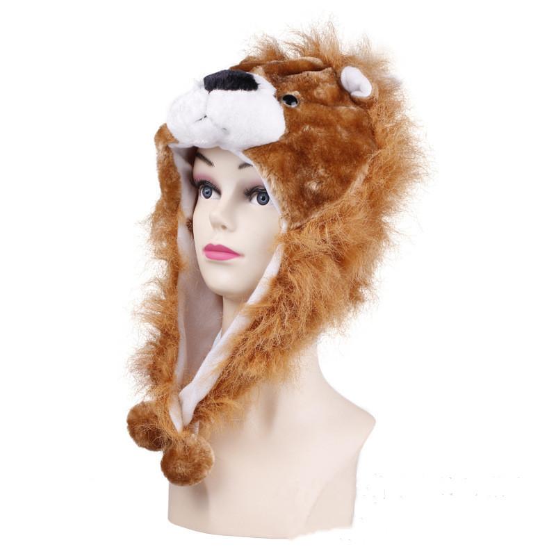 Brown Lion Warm Crozy Soft Plush Hat Winer Ear Flap Beanie For Kids
