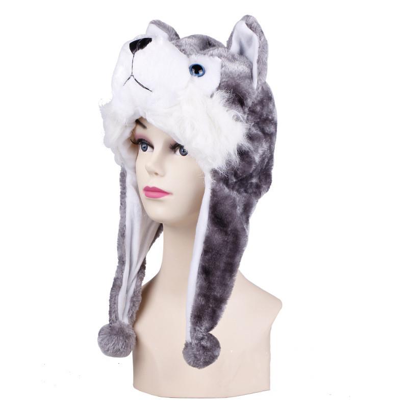 Grey Huskie Warm Crozy Soft Plush Hat Winer Ear Flap Beanie For Kids